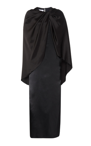 Marina Moscone Draped Cape-effect Satin Dress In Black