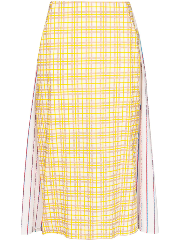 Rosie Assoulin Party In The Back Paneled Cotton-seersucker Midi Skirt In Yellow