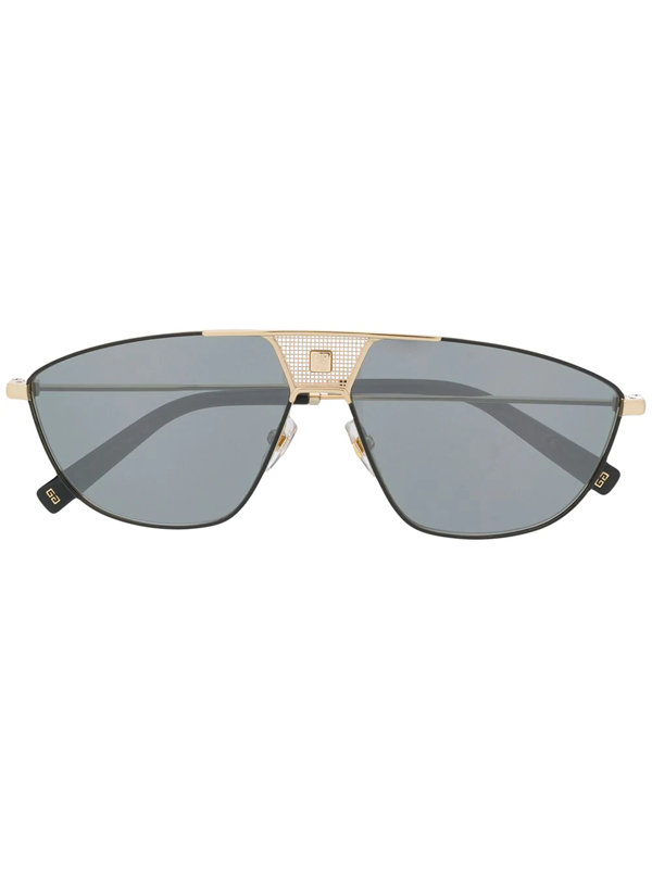Givenchy Logo Plaque Shield Sunglasses In Black