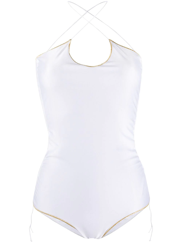 Oseree One-piece Basic Seam Swimsuit In White
