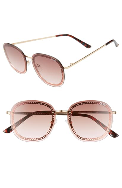Quay Jezabell Chain 53mm Aviator Sunglasses In Gold/ Brown Pink