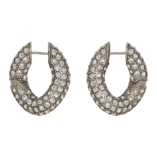 Balenciaga Loop Crystal-embellished Silver-tone Hoop Earrings