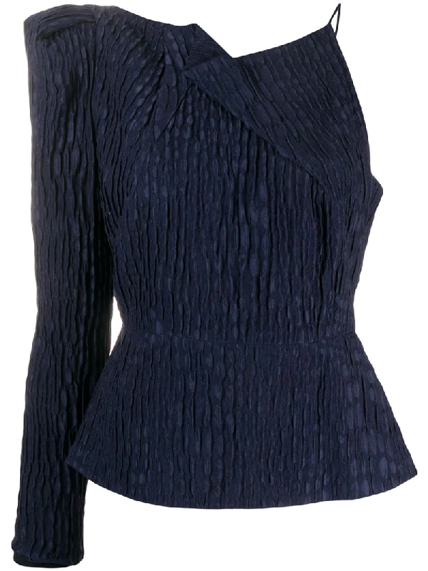 Roland Mouret Bryant One-sleeve Gathered Silk-jacquard Top In Blue