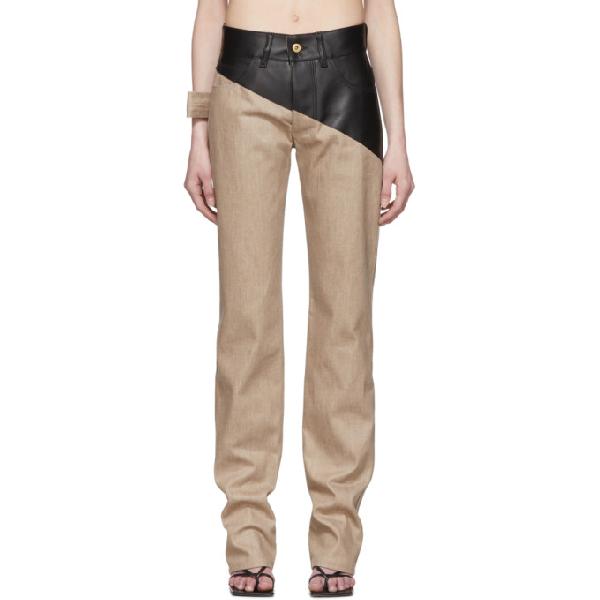 Bottega Veneta Leather-paneled High-rise Straight-leg Jeans In 1458 Brown