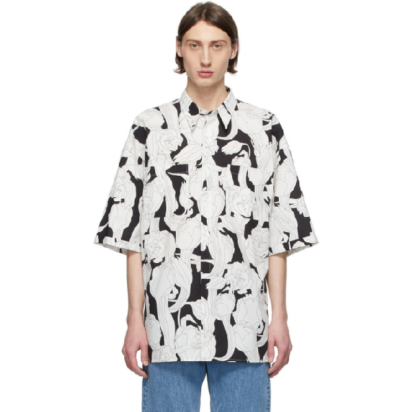 Givenchy Floral-print Cotton Short-sleeved Shirt In 004-black/w