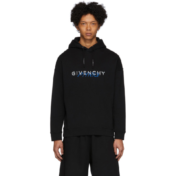 Givenchy Logo-print Hooded Cotton Sweatshirt In 001-black