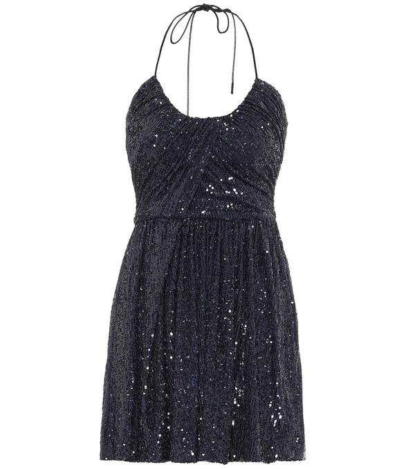 Saint Laurent Sequin Halter-strap Mini Dress In Black