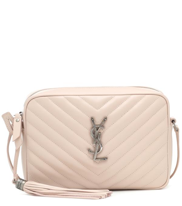 Saint Laurent Neutral Lou Quilted Leather Shoulder Bag In Pink