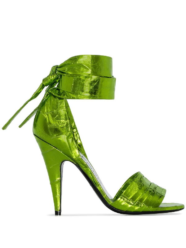 Tom Ford Laminated Eel Ankle Wrap Sandal In Green