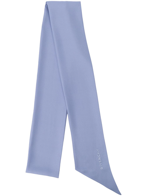 Givenchy Silk Embroidered Logo Scarf In Blue