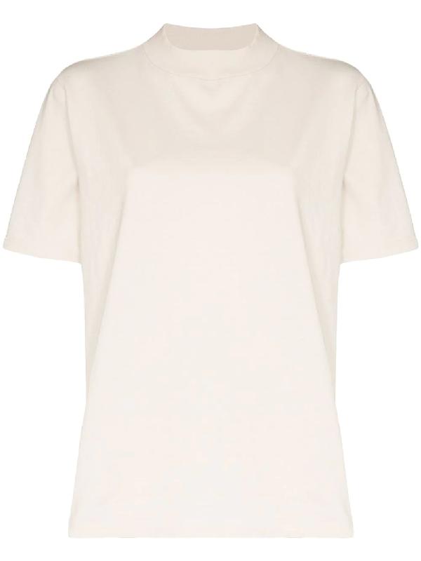 Les Tien Mock Neck Cotton T-shirt In White