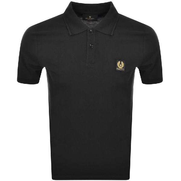 Belstaff Slim-fit Logo-embroidered Cotton-piqué Polo Shirt In Black