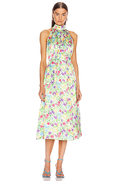 Les Rêveries Pleated Pussy Bow Maxi Dress In Rose/orchid