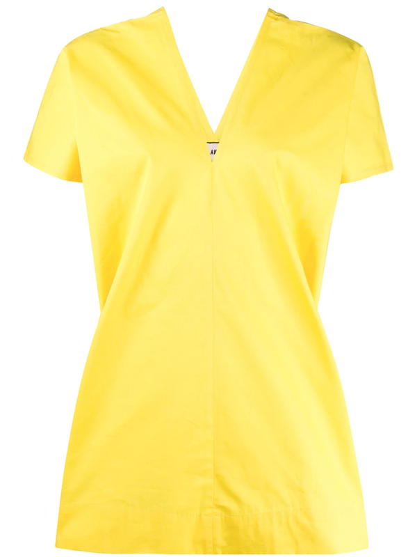 Plan C Boxy Short Sleeve Blouse In Yellow