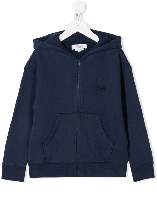 Bonpoint Kids' Zip Up Logo Hoodie In Blue