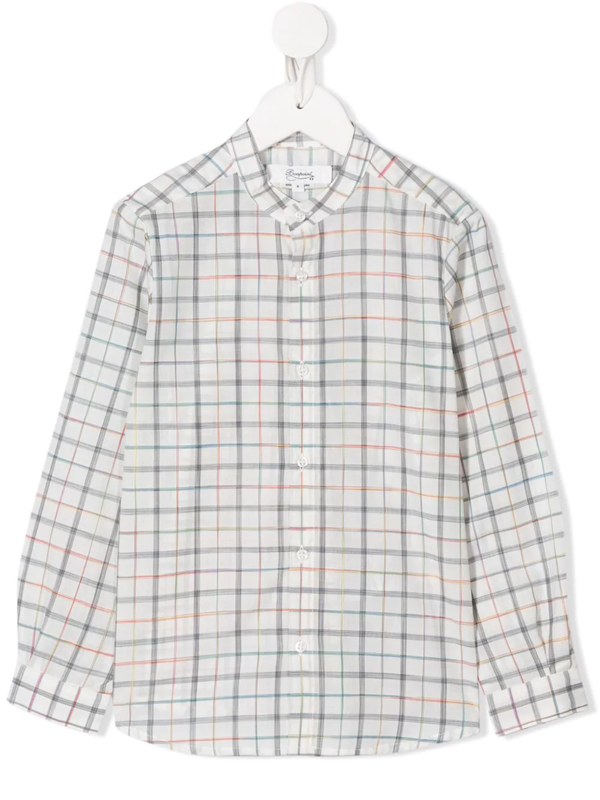 Bonpoint Kids' Long Sleeve Checked Pattern Shirt In White