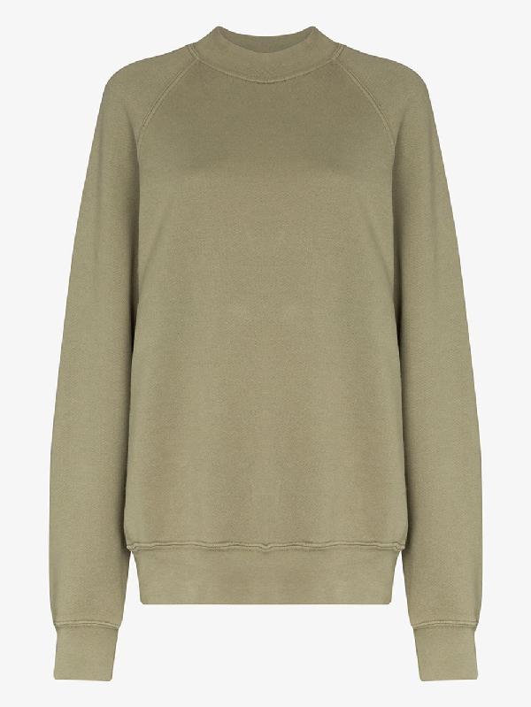 Les Tien Mock Neck Cotton Sweatshirt In Green