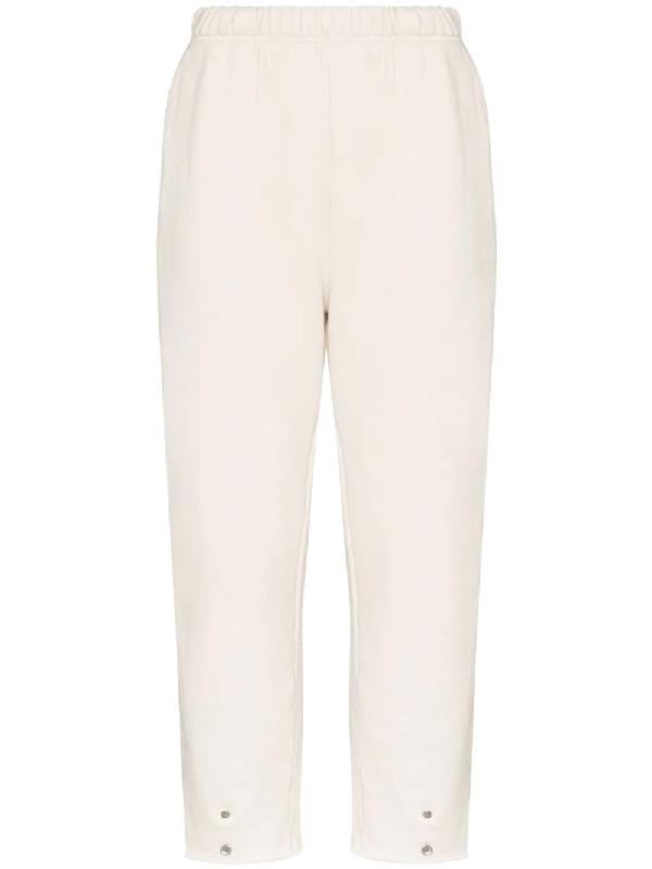 Les Tien Snap Front Cotton Sweatpants In White