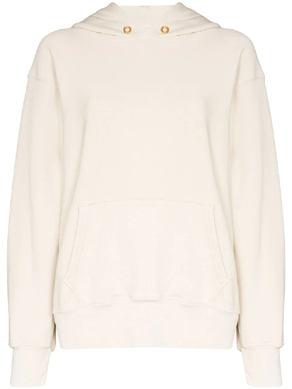 Les Tien Cropped Cotton Hoodie In White