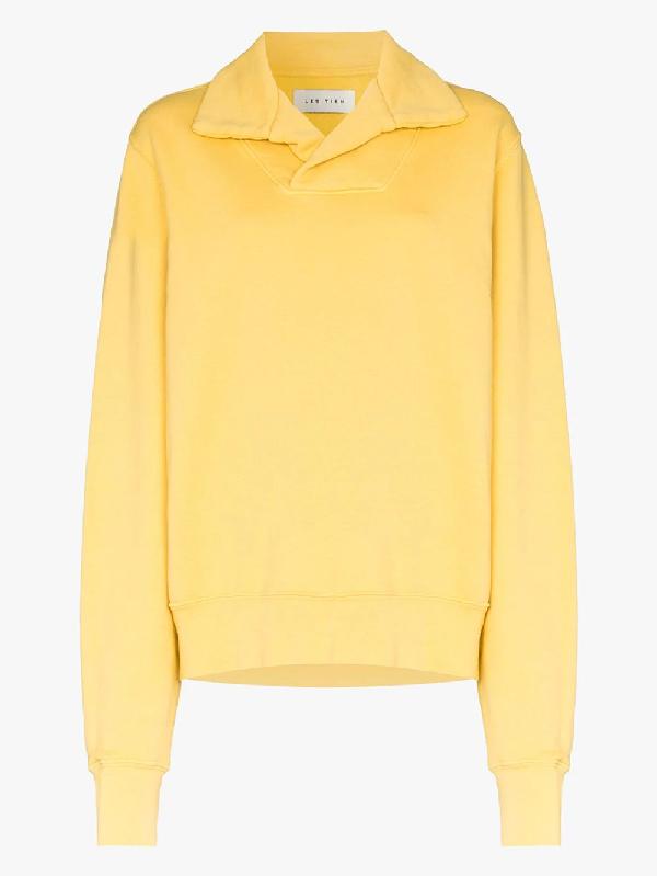 Les Tien Collared Long-sleeve Sweatshirt In Yellow