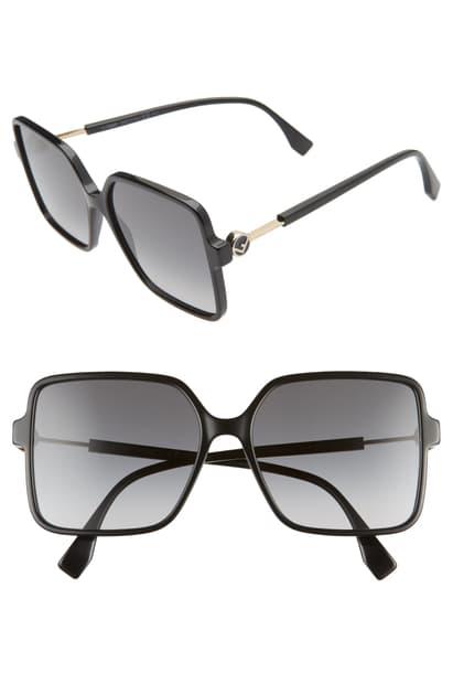 Fendi 58mm Gradient Square Sunglasses In Black/ Dark Grey