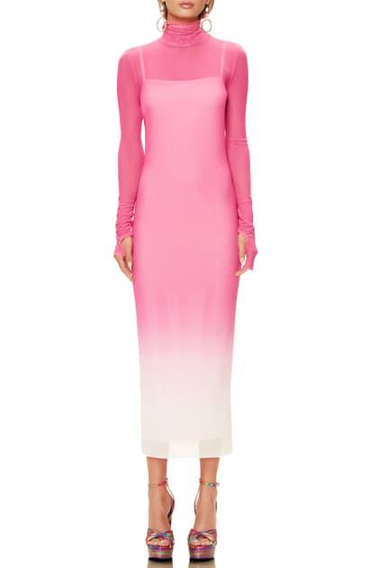 Afrm Shailene Long Sleeve Print Mesh Dress In Pink Ombre