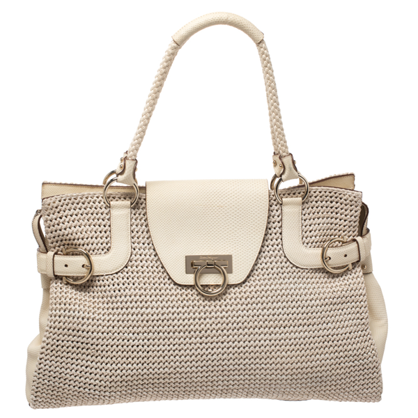 Pre-owned Salvatore Ferragamo Cream Woven Straw And Lizard Embossed Leather Satchel