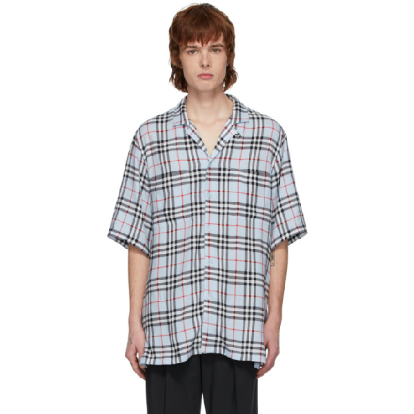 Burberry Raymouth Check Short Sleeve Button-up Shirt In Pale Blue I