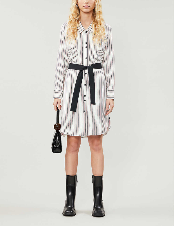 Maje Rayone Stripe Long Sleeve Shirtdress In Ecru Black