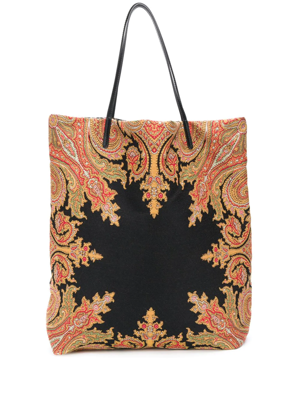Etro Paisley Embroidered Tote In Black