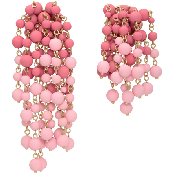 Jacquemus Les Mimosas Beaded Gold-tone Earrings In Pink