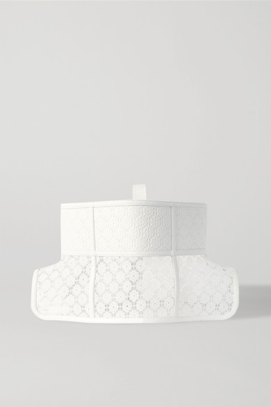 Loewe Obi Lace And Leather Corset Belt In White