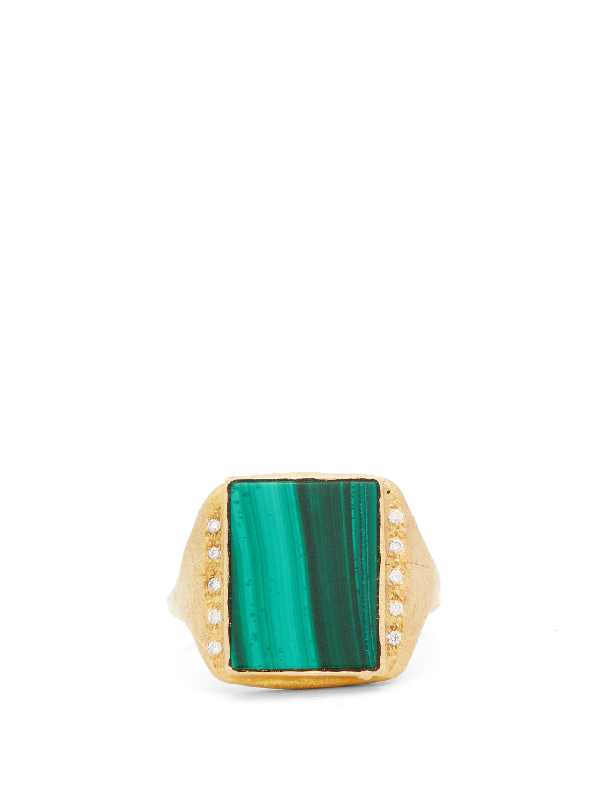Orit Elhanati Roxy Signature Diamond, Malachite & 18kt Gold Ring