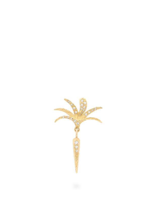 Orit Elhanati Roxy Palm Stick Diamond & 18kt Gold Single Earring