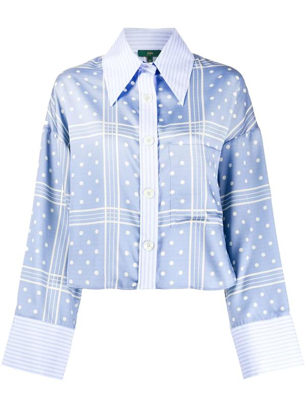 Jejia Cropped Polka-dot Shirt In Blue