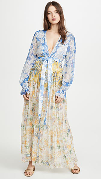 Rococo Sand Mixed Print Belted Dress In Multi