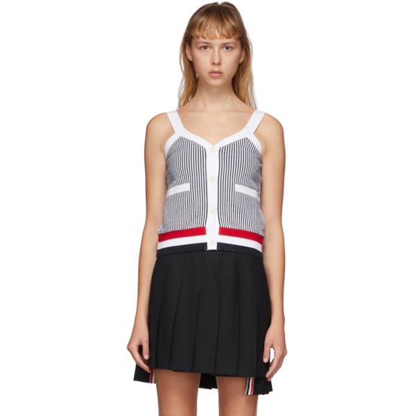 Thom Browne Pinstripe Tank Top In White