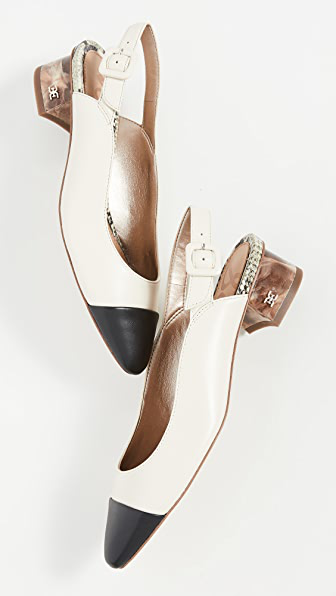 Sam Edelman Sadira Slingbacks Women's Shoes In Ivory/black