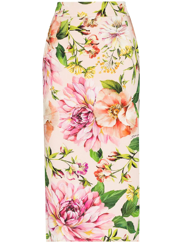 Dolce & Gabbana Floral Print Stretch Silk Charmeuse Pencil Skirt In Pink