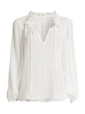 Rebecca Taylor Women's Ruffled Swiss Dot Peasant Blouse In Snow