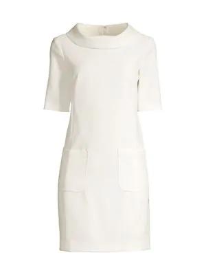 Trina Turk Women's Maleko Funnelneck Sheath Dress In White Wash