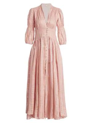 Cult Gaia Women's Willow Linen Shirtdress In Dusty Pink