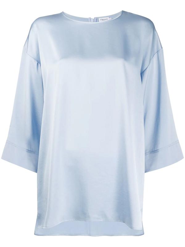 Filippa K Lydia Cropped Wide Sleeve Blouse In Blue