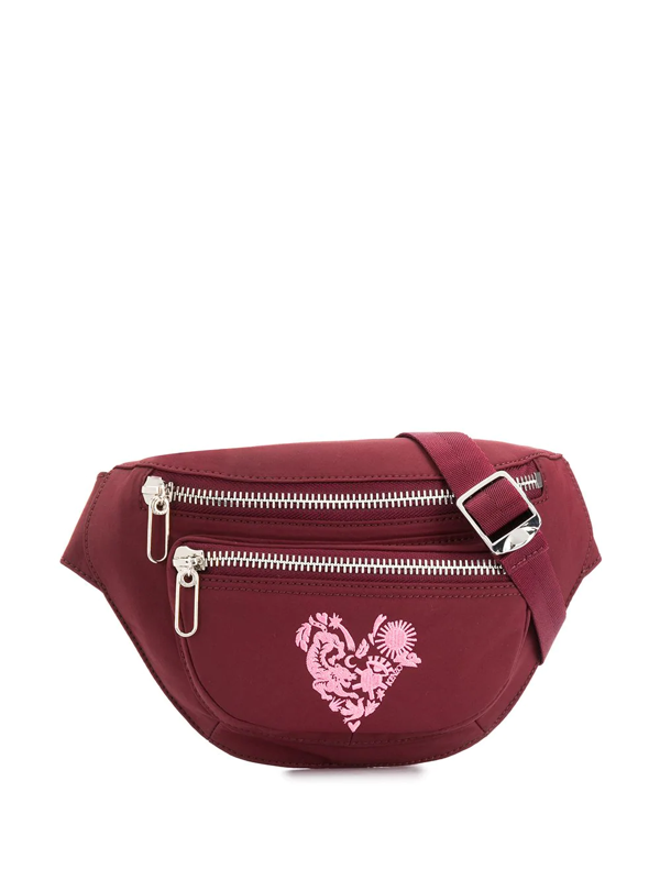 Kenzo Embroidered Heart Belt Bag In Red