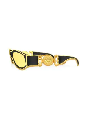 Versace Men's Biggie Logo Sunglasses Pin In Black Gold