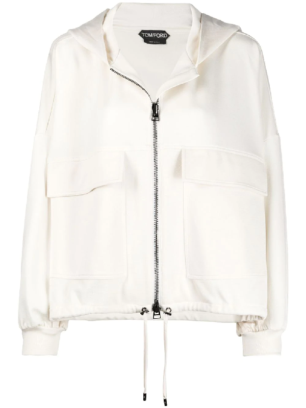 Tom Ford Stretch Silk Jersey Oversize Hooded Jacket In White