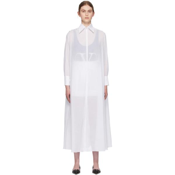 Valentino Side-split Cotton-voile Shirt Dress In 0bo White