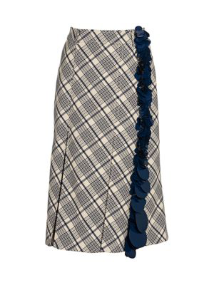 Prada Sequin-embellished Checked Wool Midi Skirt In Ivory
