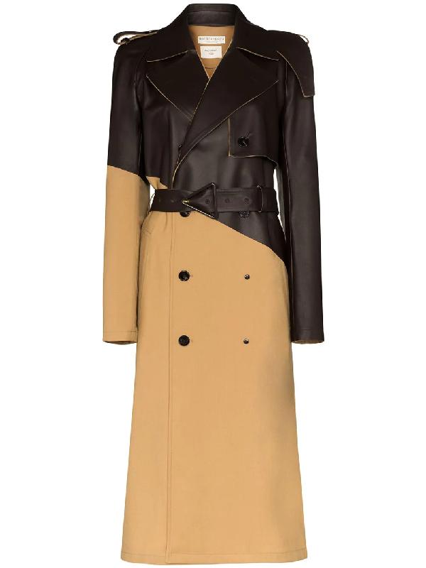 Bottega Veneta Asymmetric Trenchcoat In Gabardine And Leather In 大地色