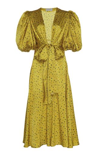 Silvia Tcherassi Lirio Polka-dot Silk-satin Midi Dress In Yellow